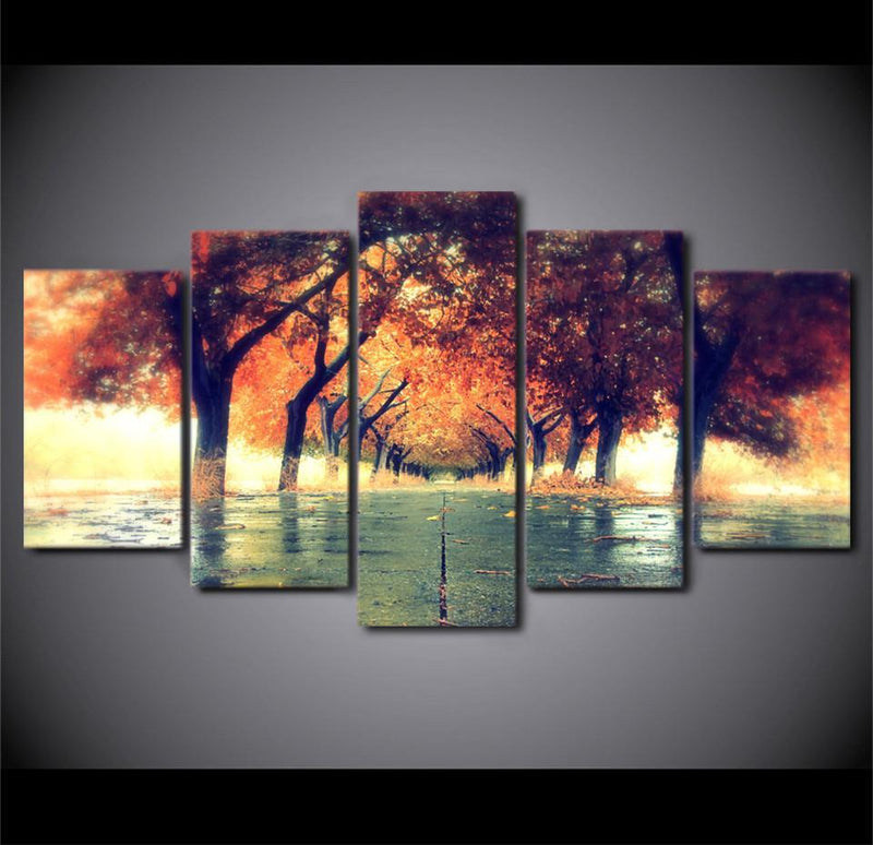 5Piece Canvas Aurora Poster Starry Night Sky Lake Street Painting Tree Picture