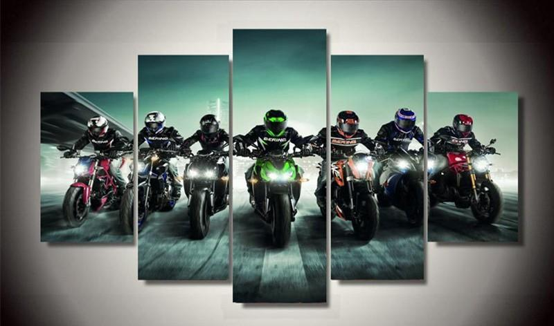 5Piece Wall Art Pictures Canvas Art Motorcycle Motorsport Oil Painting