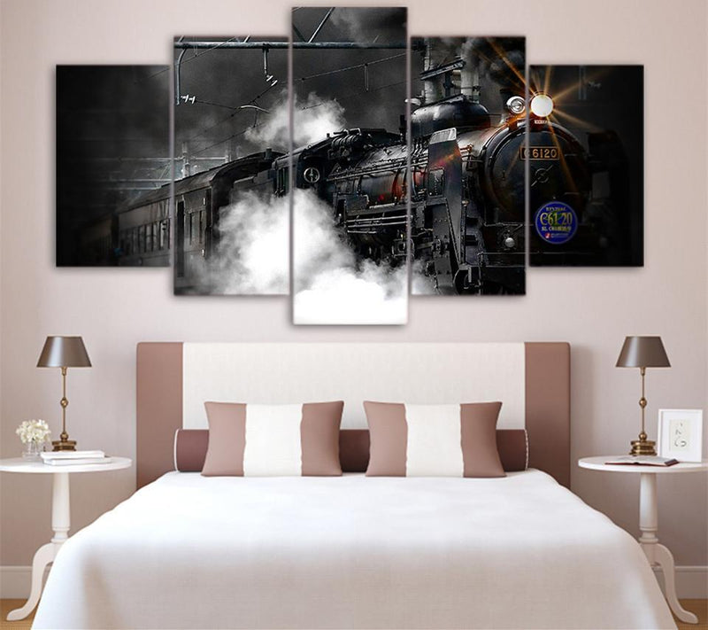 HD Printed 5 Piece Canvas Art Vintage And Images Of A Black And White Retro Train Painting