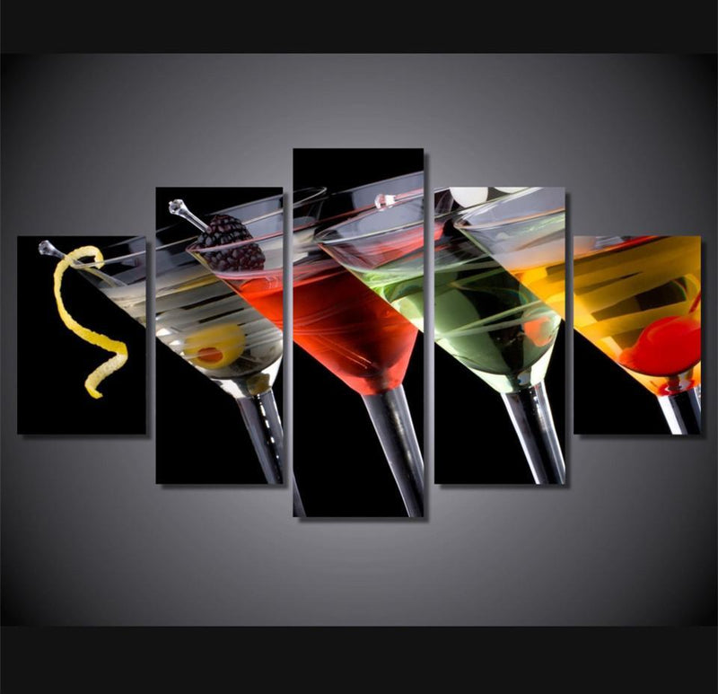5Piece Canvas Art Painting Cocktails Glasses Pictures Painting