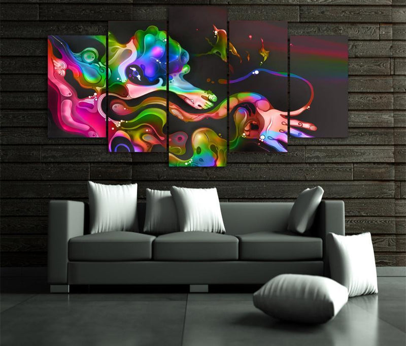 5Piece Canvas Art Oil Colorful Abstract Painting Frame Landscape Pictures
