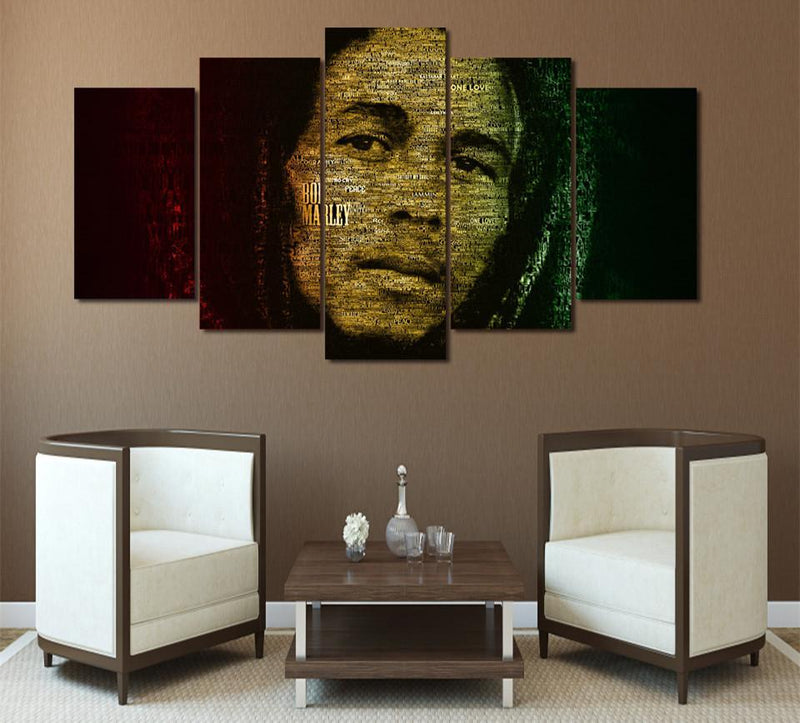 5Piece Canvas Painting Wall Art Picture Prints On Canvas Bob Marley Painting