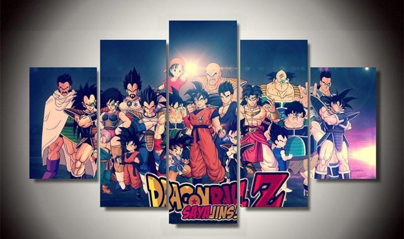 5Piece Wal Picturre Characters Dragon ball Anime Poster Modular Canvas
