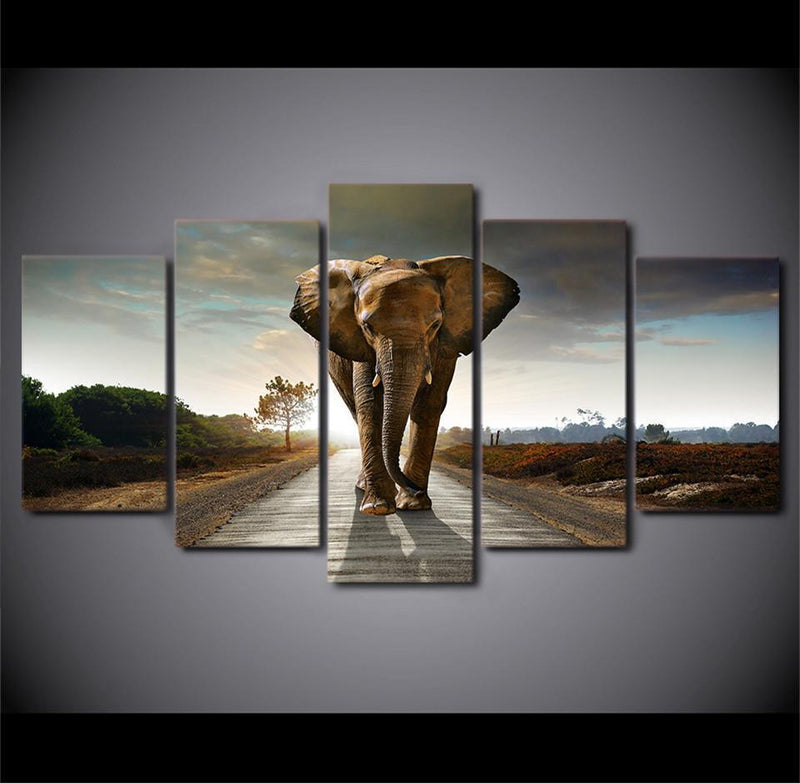 5 Piece Canvas Wall Art Modern Decoration Animates Elephant Painting