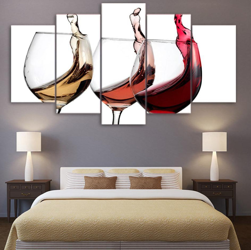 5PieceCanvas Wall Art Prints Still Life Wine Oil Painting Wall Art Panels Print Wall Pictures