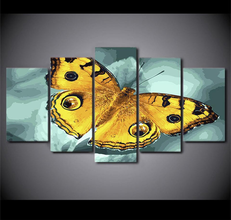 5 Piece Canvas Wall Art Painting Animal Yellow Butterfly Pictures Poster Printed