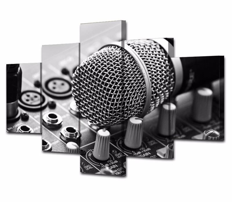 5Peices Wall Art Painting Music Microphone Canvas Art Pictutes Prints Posters