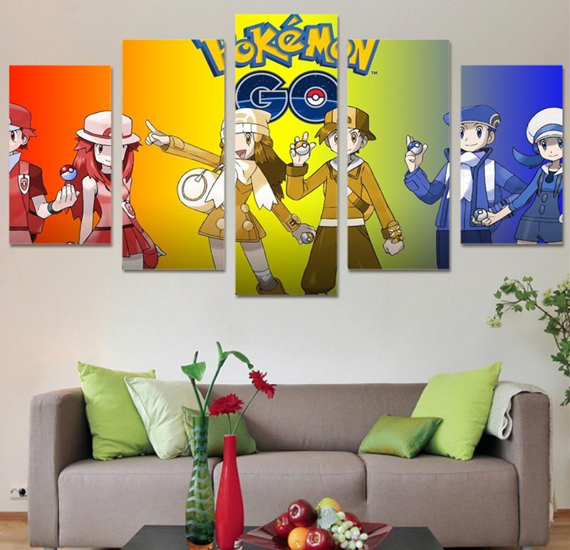 Wall Pictures Art Painting 5 Piece Canvas Art Home Decor HD Print Pokemon Anime Poster