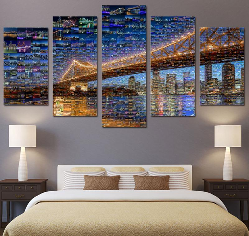5Piece Wall Artwork Canvas Prints City Night Light View Bridge Canvas