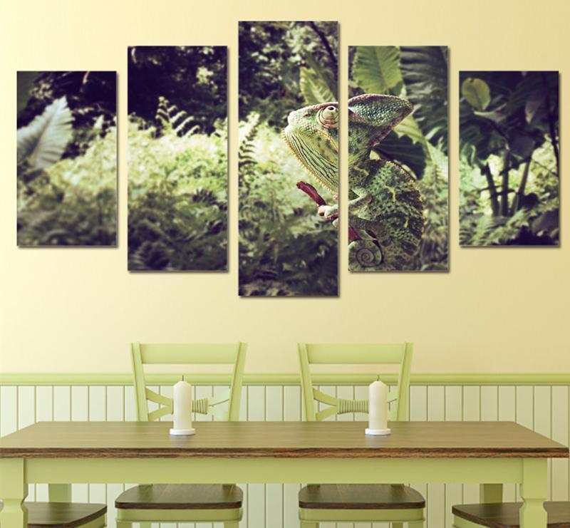 5Piece Printed Painting Home Decor Picture Green Underbrush Grass Chameleon Cute Animal Canvas