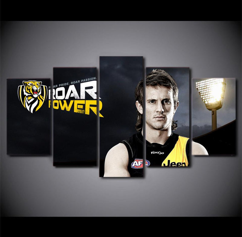 5 Planes Canvas Art AFL team Richmond Logo poster power sport star wall pictures