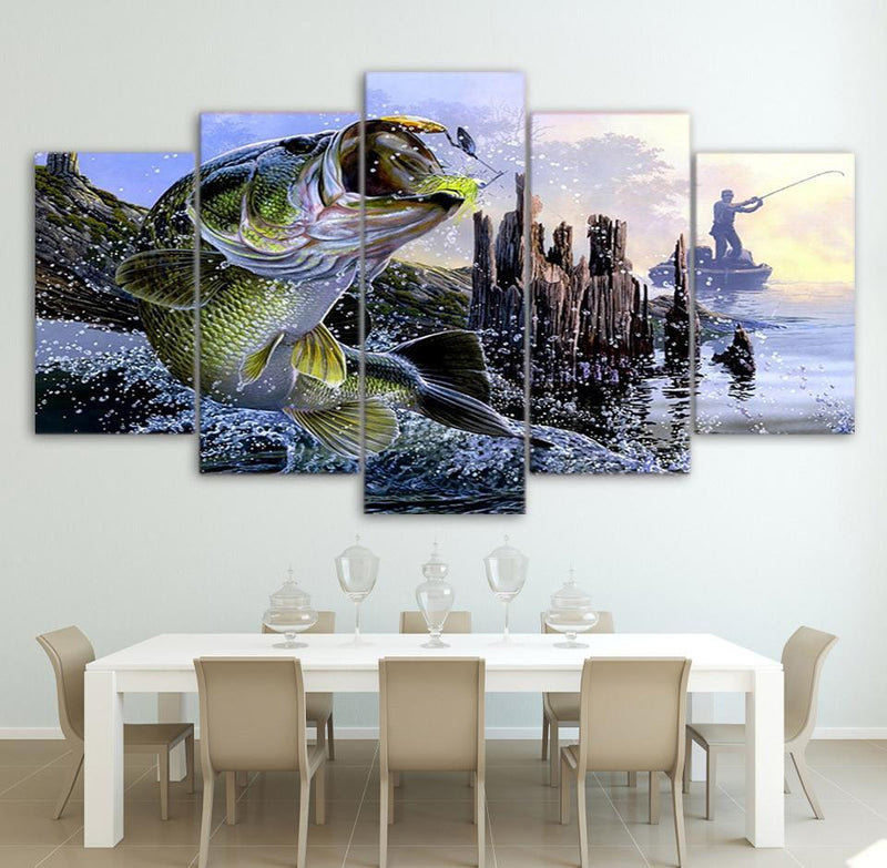 Canvas Paintings Printed 5 Pieces largemouth bass fishing Wall Art Canvas Pictures