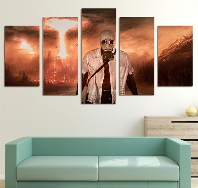 5Piece Painting Wall Picture Poster Prints Movie Masked Man War Fire Sea Swirl Canvas