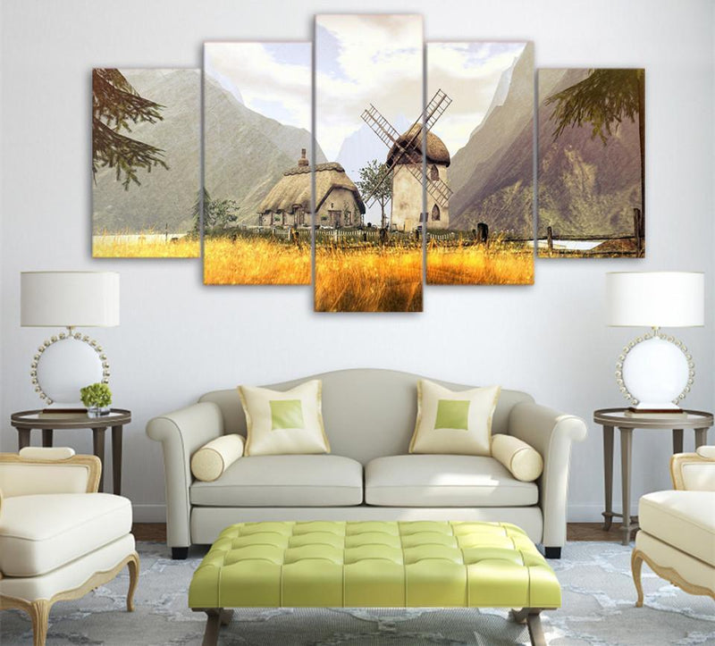 5Piece Canvas Art Windmill Painting For Living Room Canvas Print Landscape Painting