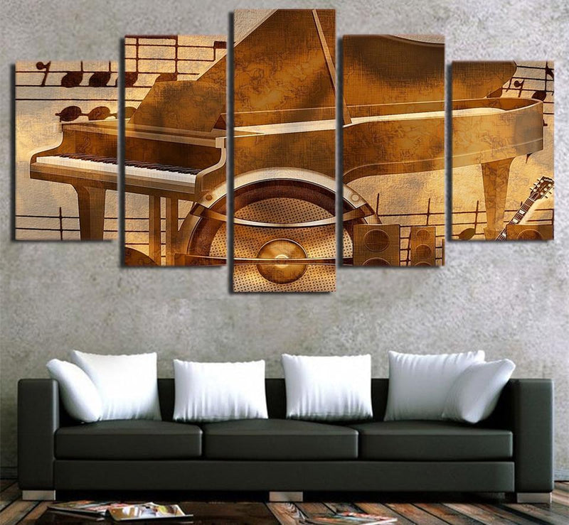 5Piece Art Piano Keys Painting Vintage Music Modular Wall Pictures