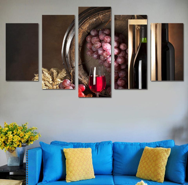 5 Piece Wall Canvas Art HD Printed Artwork Grape Wine Drink Painting