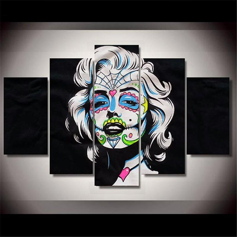 5Plane Calligraphy HD Printed Day Of The Dead Face Marilyn Monroe Art Poster