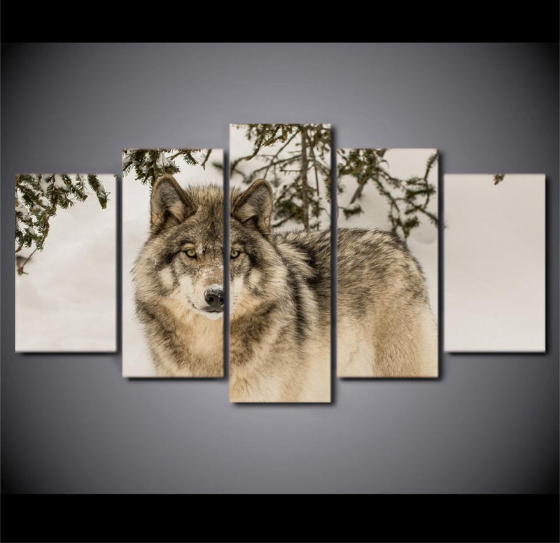 5Piece Canvas Wolf Canvas Painting African Animal Spray Painting