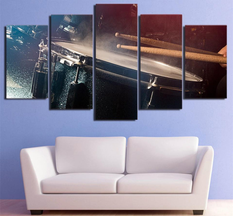 5 Piece Canvas Art Vintage Drums Painting Music Posters Prints Wall Art