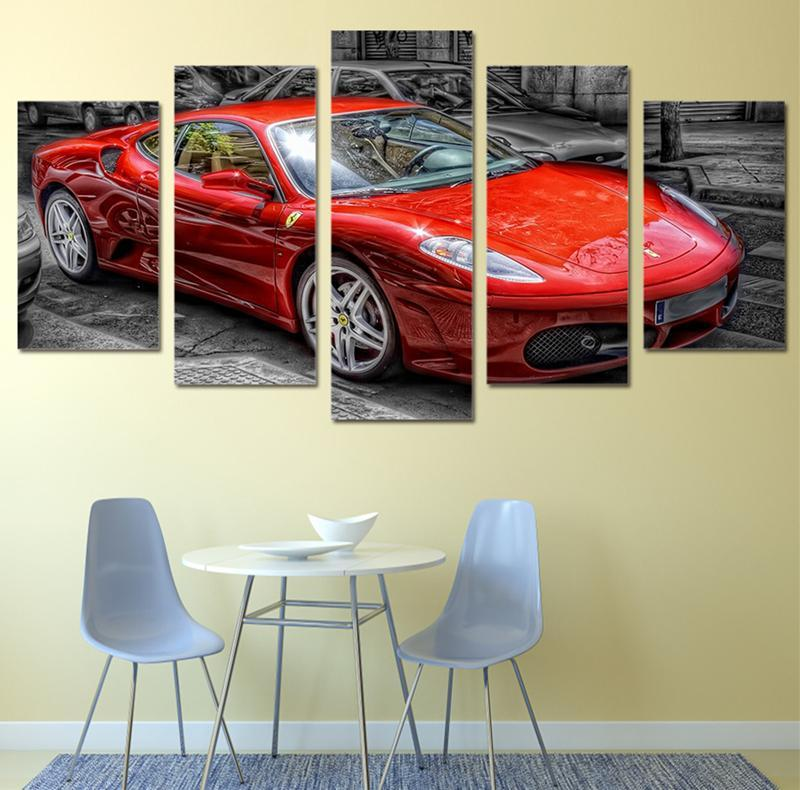 5Piece Canvasl Art Printed Picture RedCar Oil Painting Modular Pictures