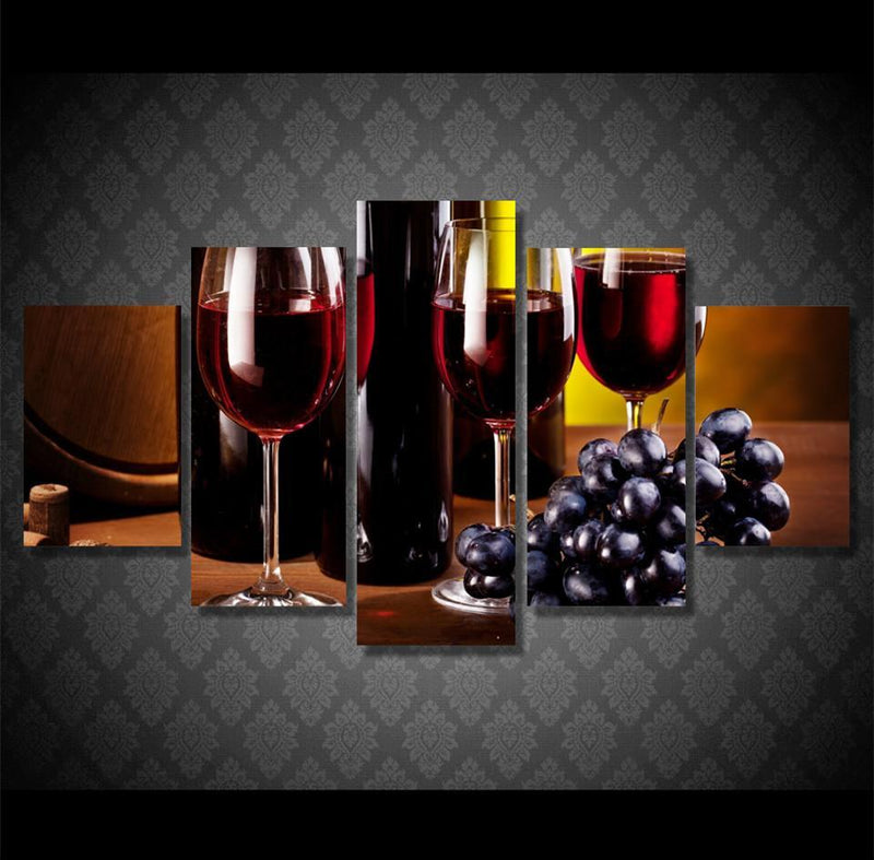 5Planes Canvas Art Red Wine Wall Pictures For Home Decor