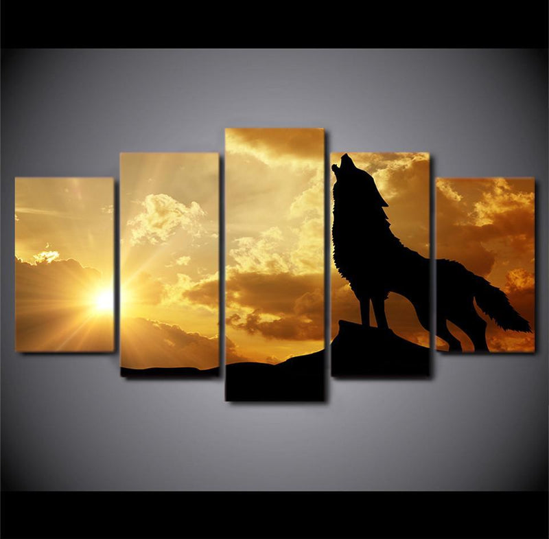 5Planes Canvas Art Howling Wolf in Sunset canvas painting