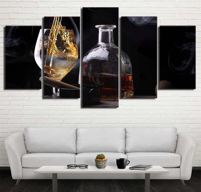5PieceCanvas Wall Art Prints Still Life Wine Cigar Oil Painting Wall Art Panels Print Wall Pictures