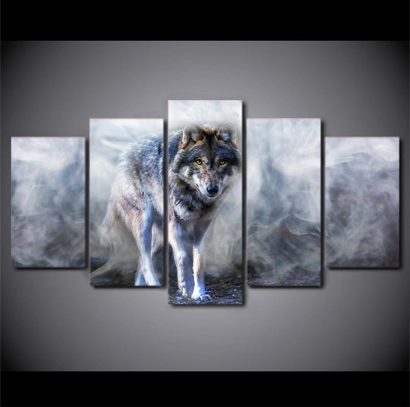 HD Printed 5 Piece Canvas Art Wolf Painting Animal Picture Poster Prints