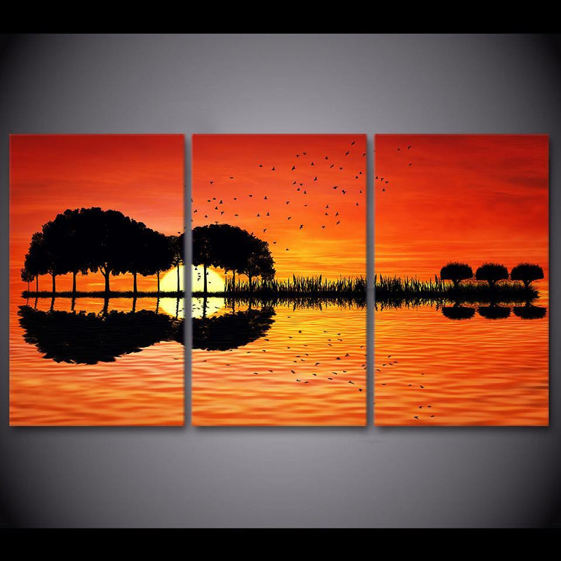 3 piece canvas wall art HD Printed guitar tree lake sunset Painting