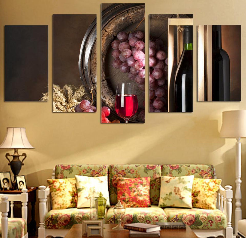 5Planes Canvas Art Wine Painting HD Print Room Decor Print And Poster