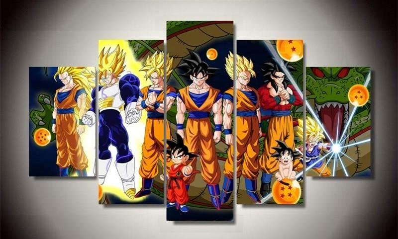 5Piece Wall Art Pictures Anime Posters Canvas Art Cartoon Dragon Ball Oil Painting