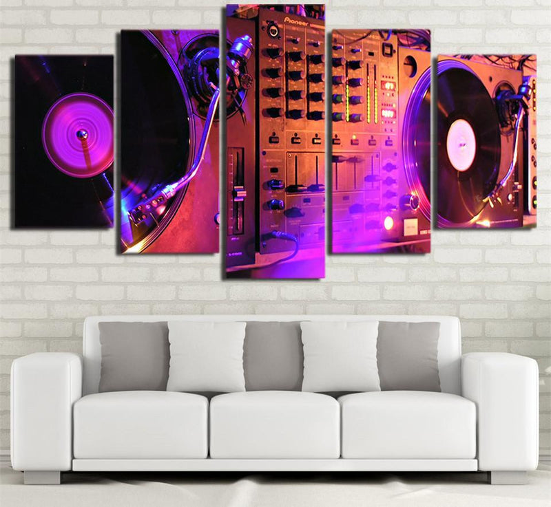 5 Piece Canvas Art Music Painting Music Disc Poster Prints