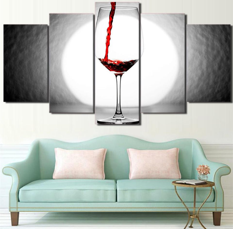5Piece Canvas Picture Red Wine Modern Abstract Print Wall Art Pictures