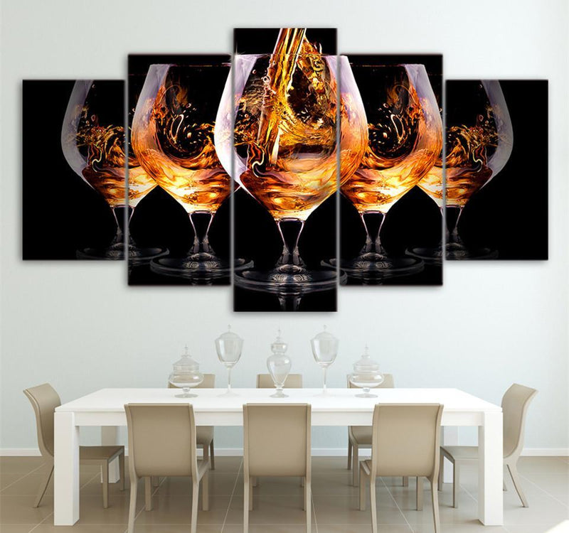 HD Printed 5 Piece Canvas Art Beverage Glasses Painting Wall Art Canvas Decor Wall Poster
