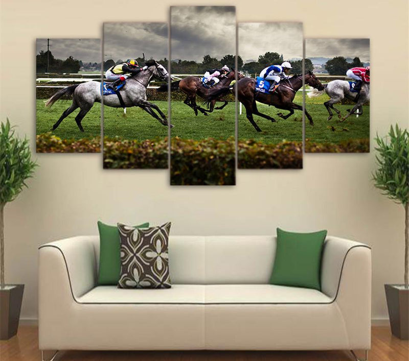 HD Printed 5 PieceCanvas Art Fast Horse Racing Painting