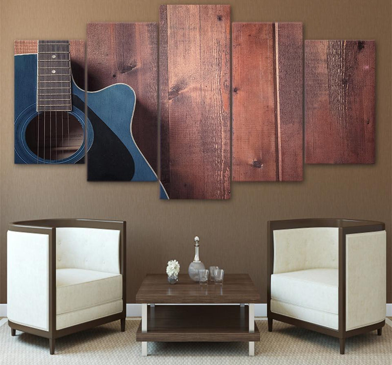 5 Piece Canvas Art Guitar Painting Picture Music Poster Prints