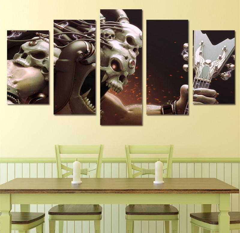 5Piece Canvasl Skull Head Musical Instrument Wall Art Painting Picture