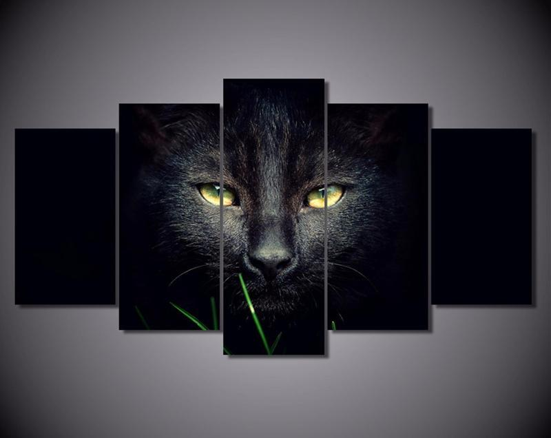 5Piece Wall Art Animal Paintings For Wall Black Cat Painting Movie Posters