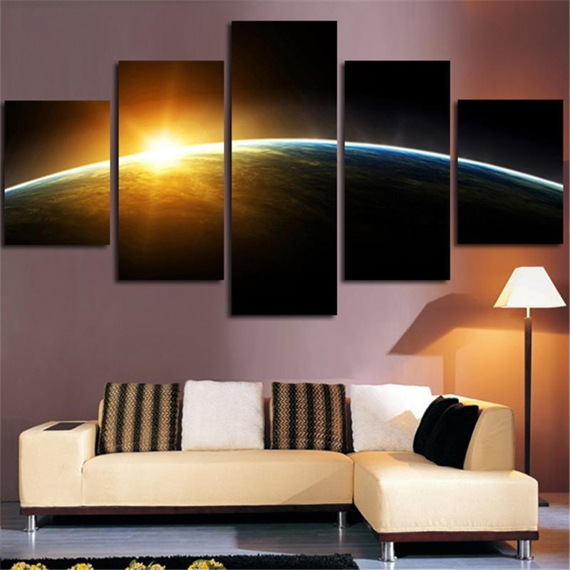 5Planes Wall Art Canvas Painting Sunrise Surface Of Earth Home Decor Tableau Modular Picture