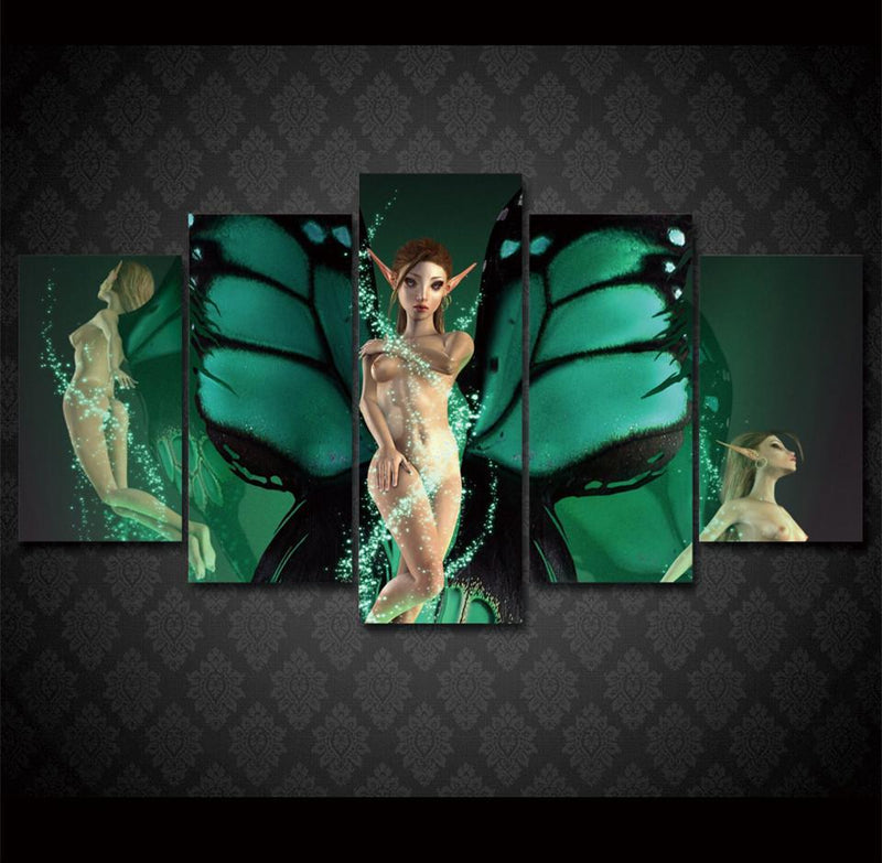 5Piece Canvas Art HD Printed Green Wing Nude Girl Painting Canvas