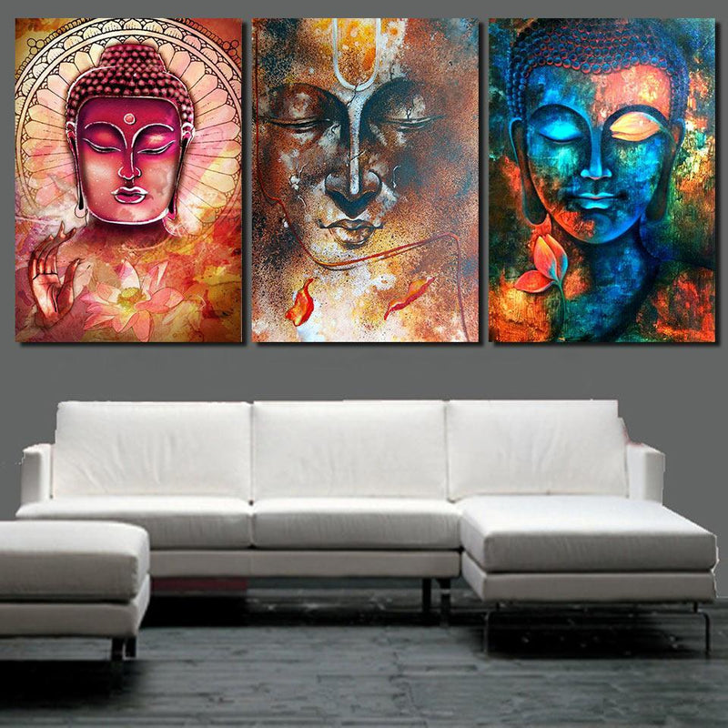 Abstract Buddha wall art 3 piece canvas living room decoration modern wall art