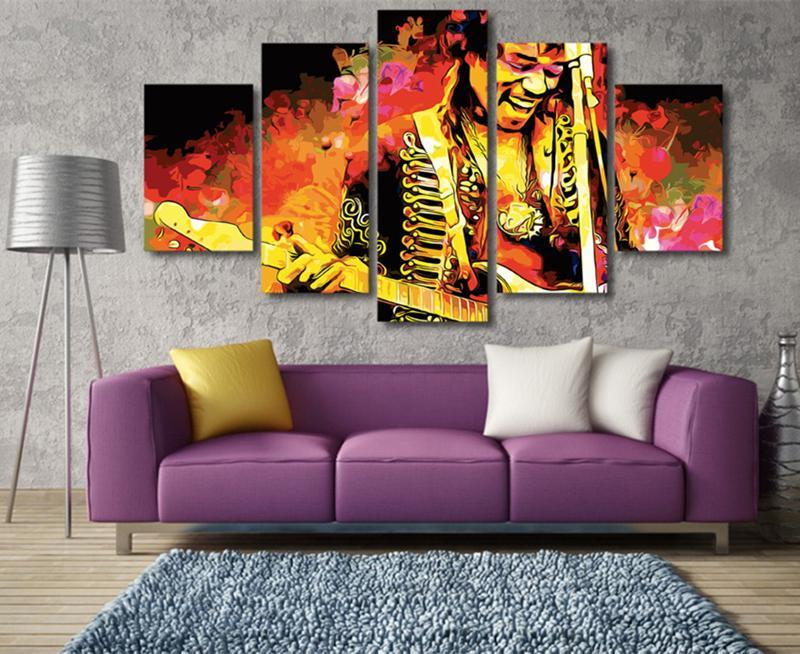 5Piece Wall Pictures For Room Home Decor Jimi Hendrix Music Guitarist Print Posters