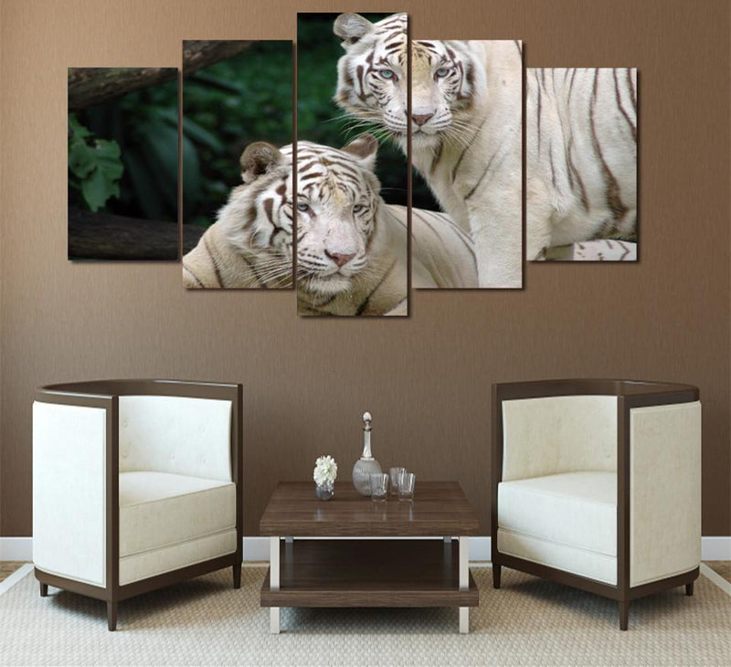 HD Printed 5 Piece Canvas Art Two White Tiger Canvas Print Painting