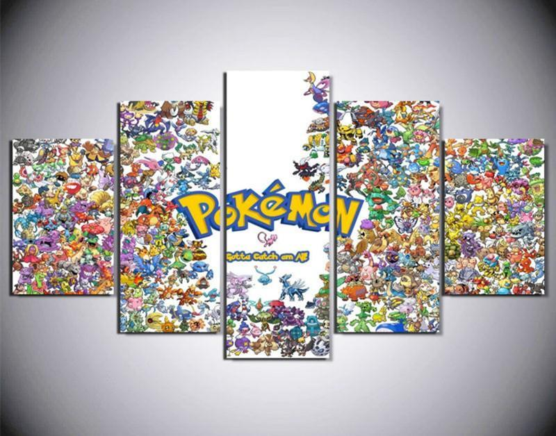 5Piece For Room The Pokemon Wall Art Home Decoration Canvas Poster Print Catoon Painting
