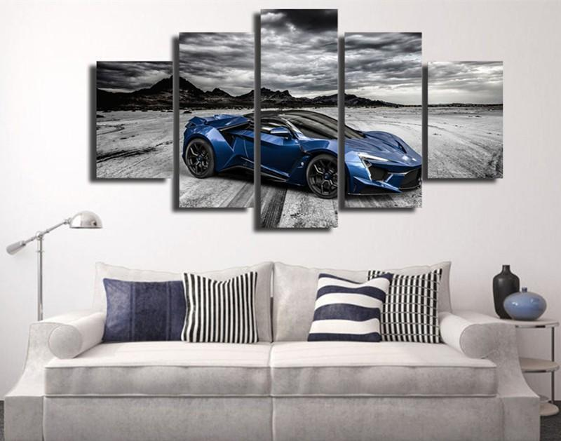 5Piece HD Printed Blue Luxury Sports Car Painting Posters Prints Canvas Wall Art Picture