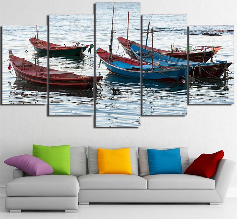 HD Printed 5 Piece Canvas Art Maritime Fishing Boat Painting