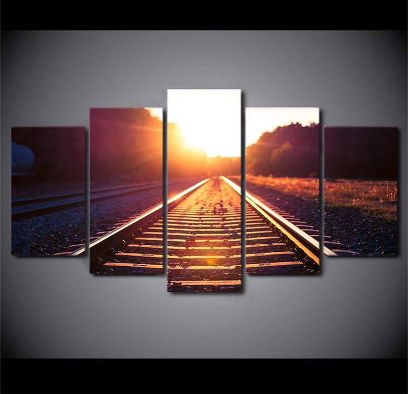 HD Printed 5Piece Home Decor Canvas Art Prints Track Train Morning Dawn Canvas Paintings