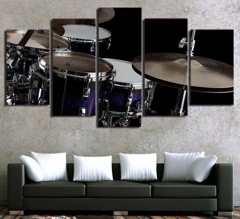 5Piece Canvas Painting Hot Musical Instruments Drum Posters