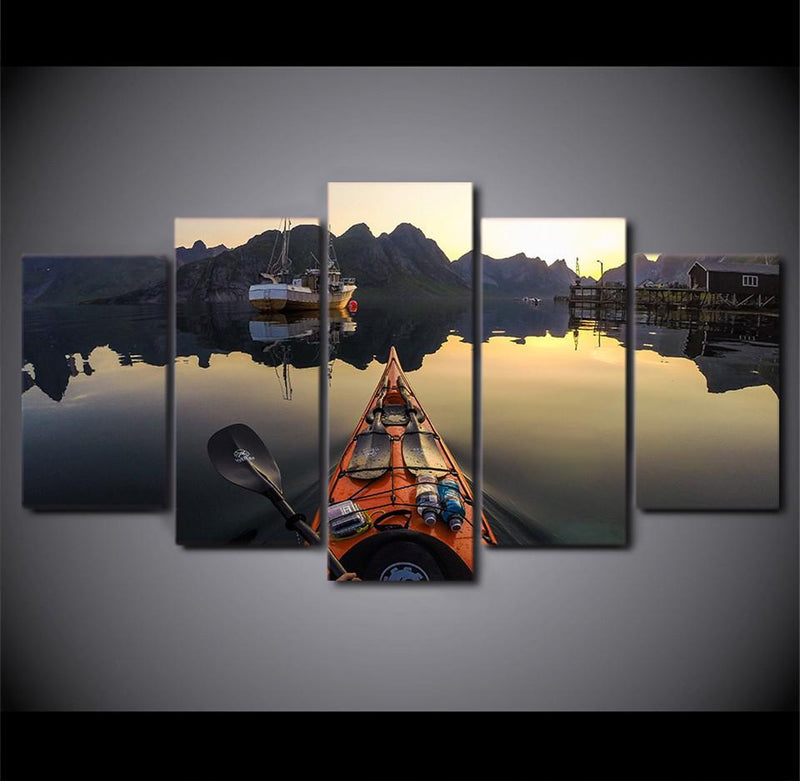 5Piece Canvas Painting Calm Lake Kayak Boat Parked Hd Posters And Prints Canvas