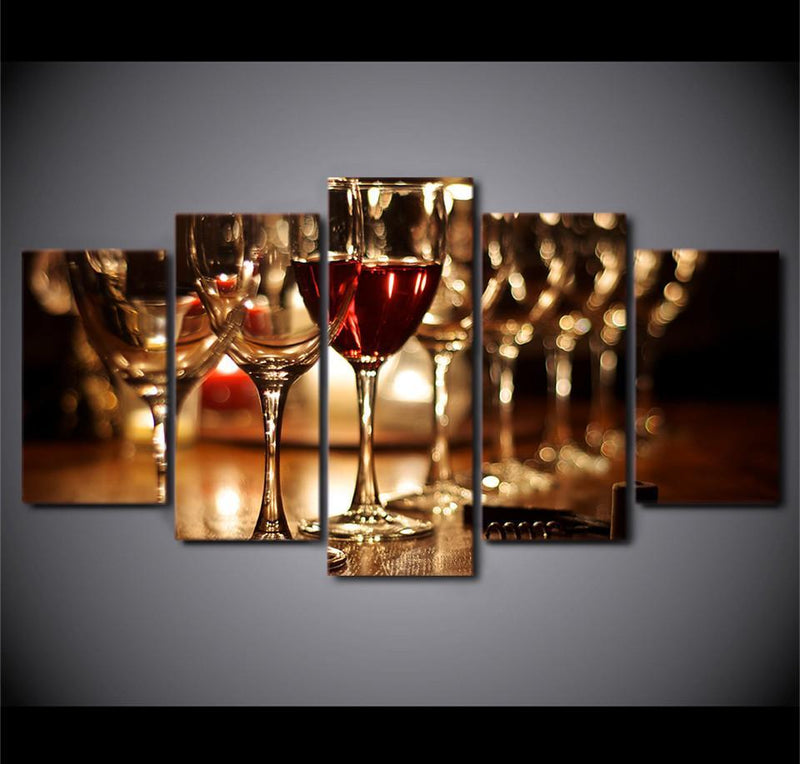5 Piece Wall Art Painting Hd Printed Glasses Pictures Wine Drink Posters
